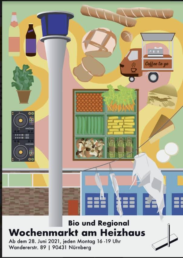 Dieses Bild zeigt den Flyer zum Wochenmarkt am Heizhaus in Nürnberg
